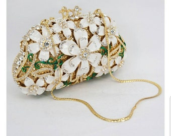 Ivy Floral clutch, Evening clutch, Evening bag,Evening purse,Wedding clutch, white clutch,Green clutch,bridal clutch,Women's clutch,clutches