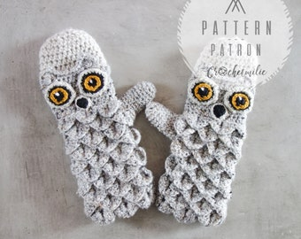 CROCHET PATTERN #002---Owl mittens / Owl gloves
