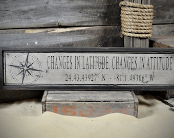 Custom Changes In Latitude Sign - Rustic Hand Made Vintage Wooden ENS1000474