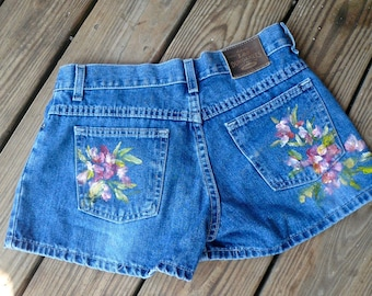 Ladies Blue Jeans Handpainted Denim Short Shorts Handpainted Flowers by VintageReinvented