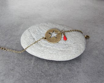 Bronze chain bracelet adjustable minimalist charm medal enameled red - jewel hand crafted drop Sequin star