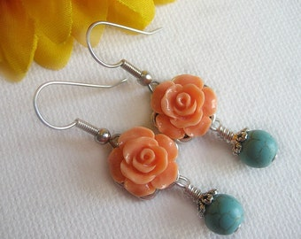 Peach Cabochon Rose Earrings. Turquoise Earrings. Spring Flower Earrings. Handmade Rose Earrings with Silver ear wires.
