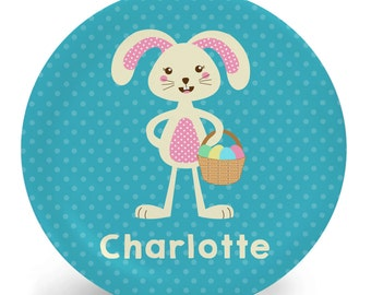 Easter Plate - Personalized Child's Plate - Easter Bunny Girl Melamine Bowl or Plate (Plastic) - Child's Bowl