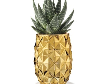 Pineapple Planter - Gold Metallic Ceramic Planter - Perfect Decorative Accent