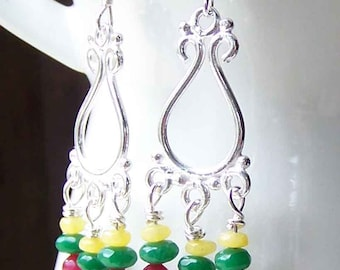 50% OFF  Chandelier Earrings, Jade and Quartz Chandelier Earrings, Silver Filled Earrings, Yellow Quartz, Pink and Green Jade
