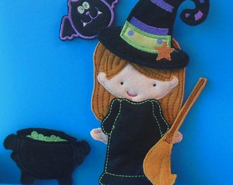 Halloween Witch felt non paper doll, dress, and accessories