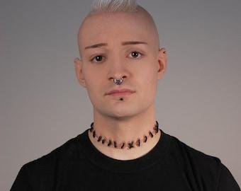 Stitches Necklace Frankenstein  Costume - Zombie Necklace -Flesh1 Natural-medium stitches