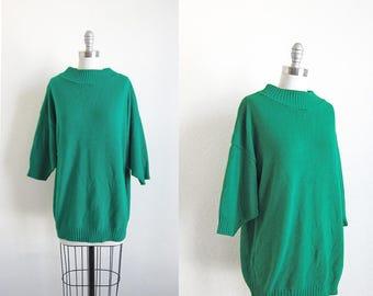 1980s vintage green oversize knit mock turtle neck batwing jumper sweater m L xl