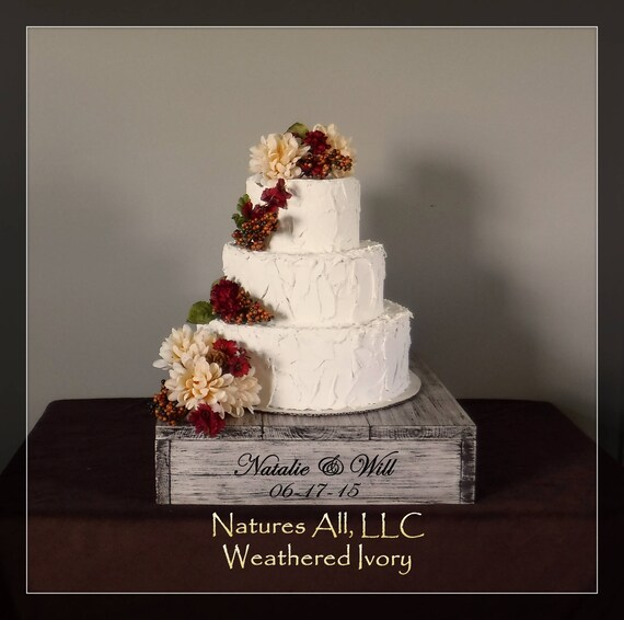 """14"""" Rustic Wedding Cake Stand/Personalized Option/Weathered Ivory/Cupcake Stand/Country Wedding Decor/Rustic Cake Stand"""