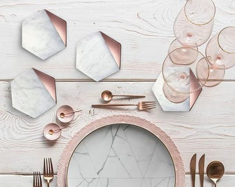 Hexagon Marble Rose Gold Coaster Set of 4 Drink Coasters, Bar Coasters or Home Décor