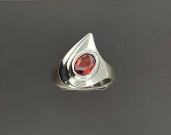 Abstract Style Sterling Silver Ring with Birthstone