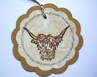 Wee Hielan Coo Scottish  Gift Tags; Hang Tags;  Humour Gift Tags;