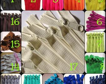 SALE - Five 12 inch Handbag YKK zippers, choose colors - neutrals, red, pink, purple fuchsia, green, turquoise, aqua, orange, yellow