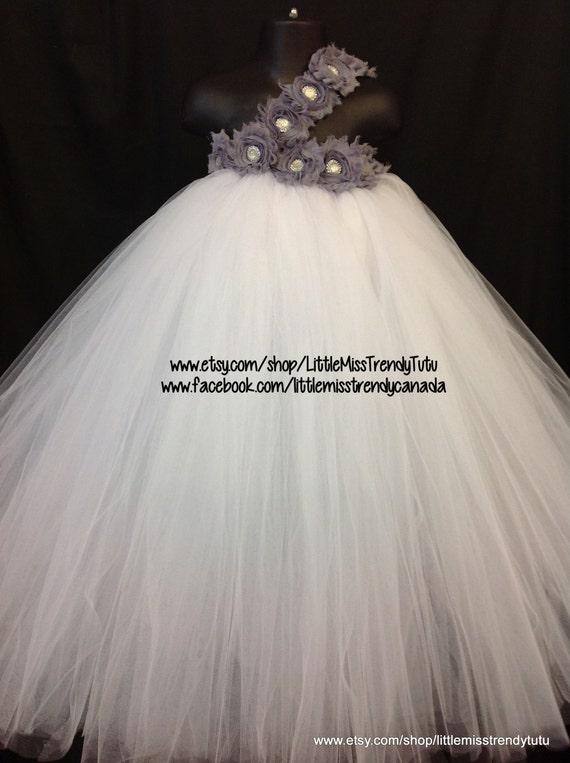 White flower girl tutu dress white silver tutu dress white mightylinksfo