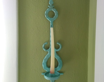 Vintage Cast Aluminum Hanging Candle Stick Holder in Turquoise