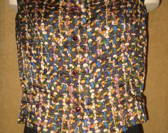 60s Silk Blouse Sleeveless Cropped Rhinestone Buttons Vintage