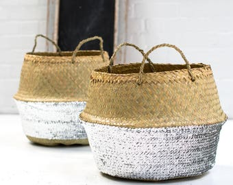 Silver Sequin Dipped Seagrass Basket