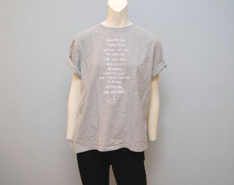 """Vintage 1990's CK One T-Shirt """"We Are One"""" World Languages Tshirt Tee Gray and White Shirt Women's Size XL Calvin Klein Ck1 Perfume Cologne"""