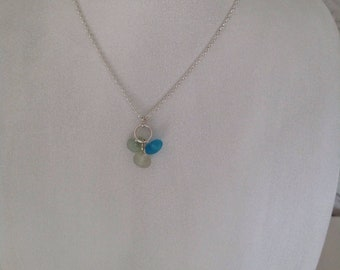 Starling silver Seaglass charm necklace