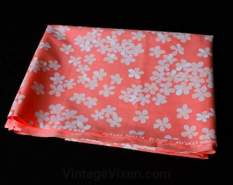 Key West Hand Prints - 3 Yards Fabric - Peachy Pink Daisy Floral - Sweet Screen Print Cotton Broadcloth - Flower Fiesta by Dory - 47775