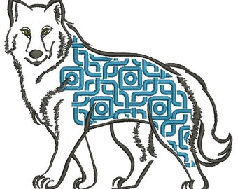 wolf / husky  and eastern ornament - Machine Embroidery Design