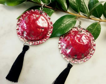 Elegant long earrings with tassels
