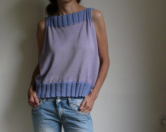 knit violet blue top bamboo