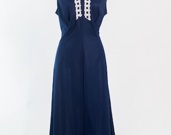 Vintage 1970s navy blue maxi dress (Size 18 Aust/ 14 USA/ 18 UK)