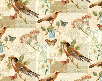 1/2 yd Oak Avenue Scenic Birds by David Textiles Fabric 2023-4C-1