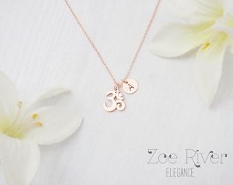 Tiny rose gold, silver or gold Om necklace.  Inspirational necklace. Dainty om symbol necklace
