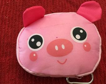 Reusable Pink Pig tote bag grocery bag