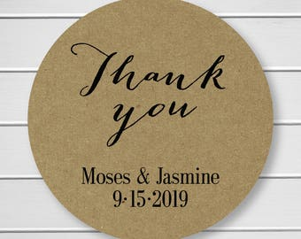 Wedding Thank You Stickers, Kraft Thank You Stickers, Printed Stickers, Wedding Favor Thank You Labels  (#009-KR)