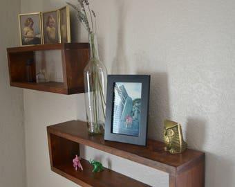 Rectangle wooden hanging shelves