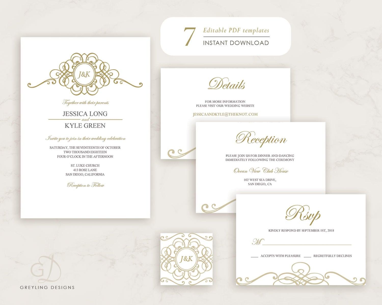 Gold wedding suiteGold invite kitEditable invite kitGold