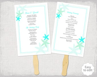 "Wedding Program Fan template ""Starfish"" Turquoise Aqua and Mint DIY Beach wedding fan program templates  YOU edit Word download programs"