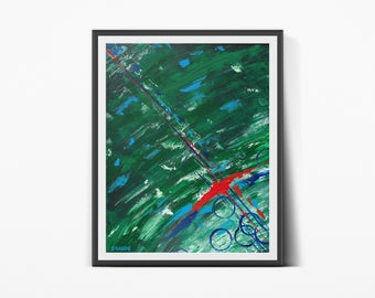 Excalibur - Fine Art Print // Abstract Art, Acrylic Painting Style, Evergreen, Emerald, Magic Sword, Knight, Medieval Minimal, Colourful Art