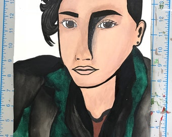 Watercolor painting of Zayn Malik