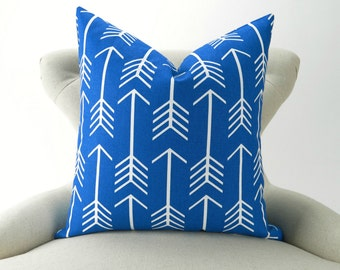 Royal Blue Pillow Cover, Arrow Pattern -MANY SIZES- Cobalt Throw Pillow/Cushion, Arrow Cushion, Royal Blue/White,  Euro Sham, Pemier Prints