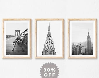 New York Print Set, Black and White Prints, New York City Photography, Travel Posters, Set of 3 Prints, NYC Art, Brooklyn Bridge NYC Skyline