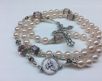 Pink Pearl Rosary, Girl's First Communion Rosary, Baptism Rosary, Girl's Confirmation Rosary, Women's Rosary
