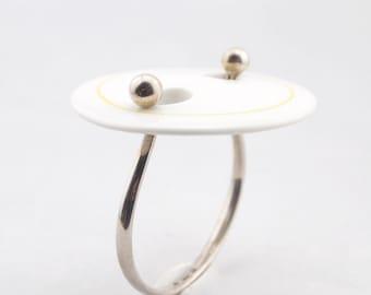 Modernist Anton Michelsen Royal Bini Copenhagen Porcelain Silver Bracelet Scandinavian Nordic Statement Sculptural 1960s