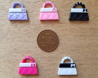 Set of 5 resin flat back handbags