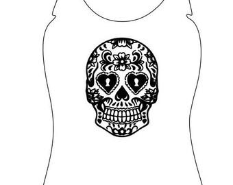 Womens Jersey Tank Top Sugar Skull - Summer Tank