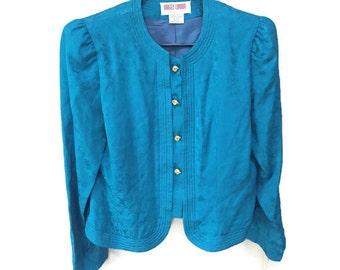 Blue Silk Jacket, New Tags Vintage Maggie London Jacket, Teal Blue Jacket, Gold Buttons, Floral Embossed Silk Formal Jacket Vintage 80s 12 P