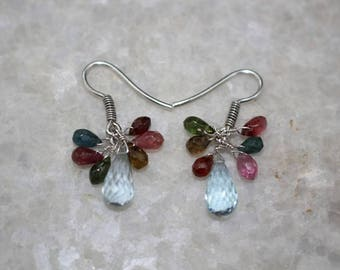 Blue Topaz Briolette & Watermelon Tourmaline Briolette Almond Drop Dangling Earrings 925 Sterling Silver