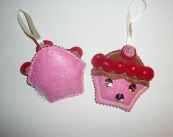 Vintage Felt Sequins Cupcake Christmas Oranments Handmade Oranments by VintageReinvented