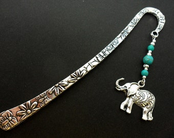 A hand made tibetan silver turquoise  beads elephant themed bookmark. New.