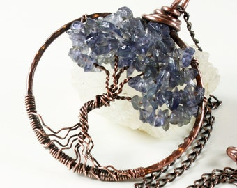 Iolite Tree of Life Necklace, copper wire wrapped violet blue gemstone talisman pendant, holiday gift for her, September birthstone