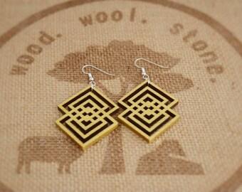 Geometric Wood Dangle Earrings / Yellowheart Dangle Earrings / by wood.wool.stone