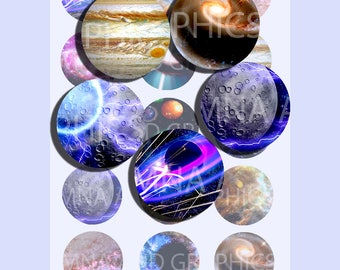 GALAXY Universe 1 INCH bottle-cap images, Universe PRINTABLE - Instant Download images